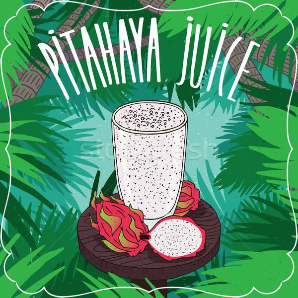 Fresh pitaya or dragon fruit juice with fruits Stock photo © alexanderandariadna