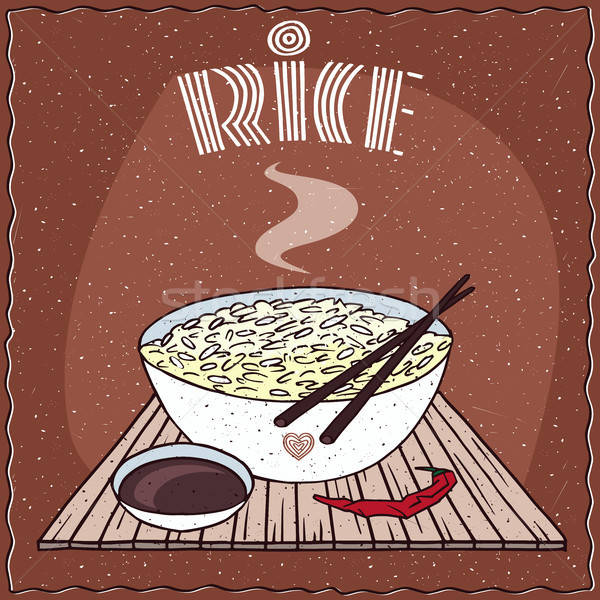 Asian rice Dal bhat or Nasi kandar in bowl Stock photo © alexanderandariadna