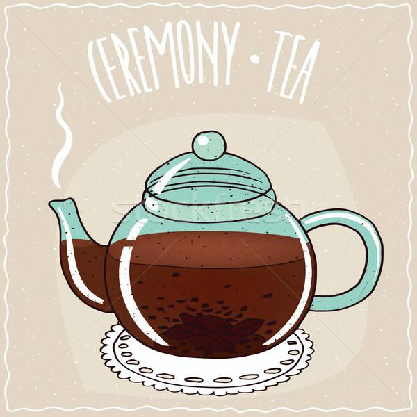 Glass teapot with black tea Stock photo © alexanderandariadna