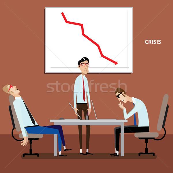 Empresarios reunión negativos gráfico color negocios Foto stock © alexanderandariadna