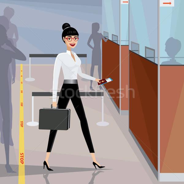 ビジネス女性 合格 パスポート 制御 幸せ 空港 ストックフォト © alexanderandariadna