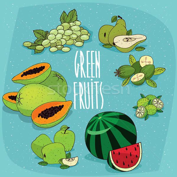 Stock fotó: Szett · izolált · zöld · gyümölcsök · bogyók · clipart