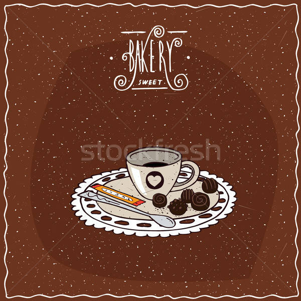 Cup of coffee with saucer lie on lacy napkin Stock photo © alexanderandariadna