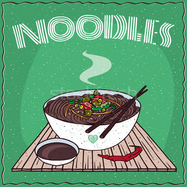 Asian noodles Naengmyeon or Soba with vegetables Stock photo © alexanderandariadna