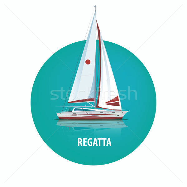 Round emblem of sailing yacht on the water with reflection Stock photo © alexanderandariadna