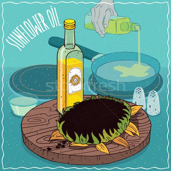 óleo de girassol usado comida vidro garrafa disco Foto stock © alexanderandariadna