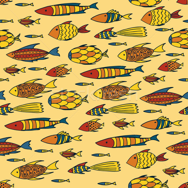 Yellow pattern with shoal of fishes Stock photo © alexanderandariadna
