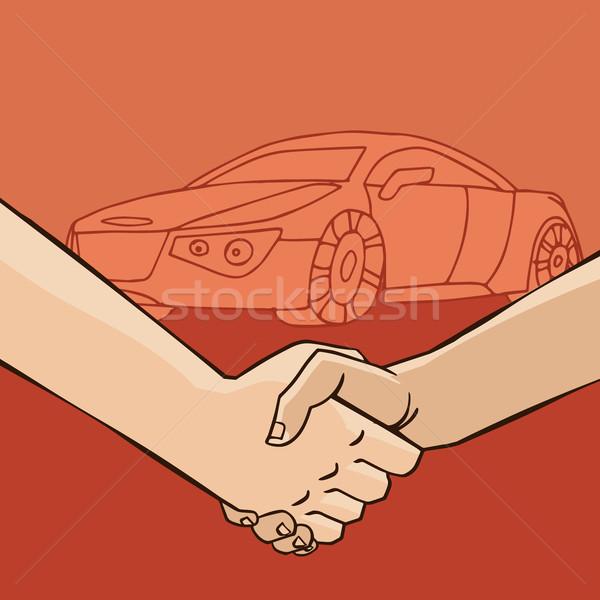 El sıkışma araba iki adam el sıkışmak satış Stok fotoğraf © alexanderandariadna