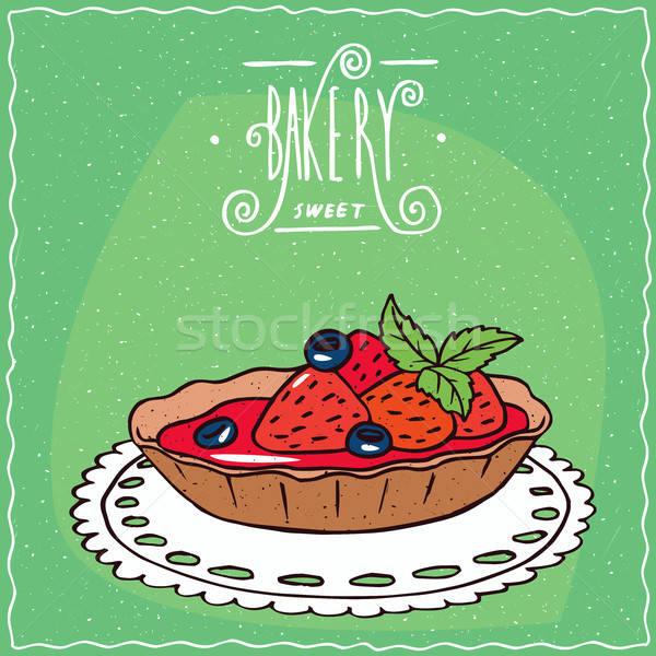 Stockfoto: Vers · aardbeien · servet · Blauw · bessen · liggen