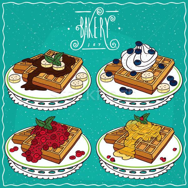 Set of Belgian waffles in handmade cartoon style Stock photo © alexanderandariadna