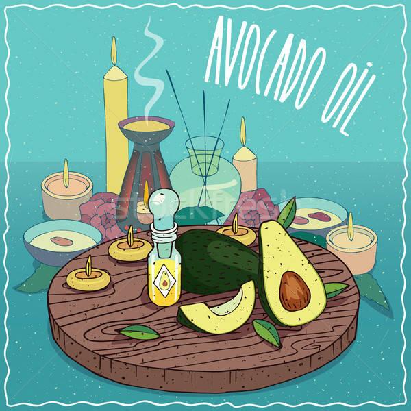 Avocado Öl benutzt Aromatherapie Glas Flakon Stock foto © alexanderandariadna