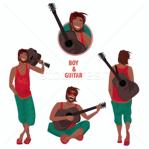 Set of isolated guy with guitar Stock photo © alexanderandariadna