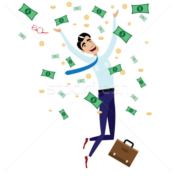 Stock photo: Happy businessman jumping with money