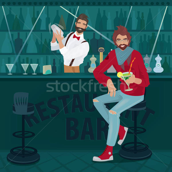 Guy in casual clothes sits at the bar counter Stock photo © alexanderandariadna