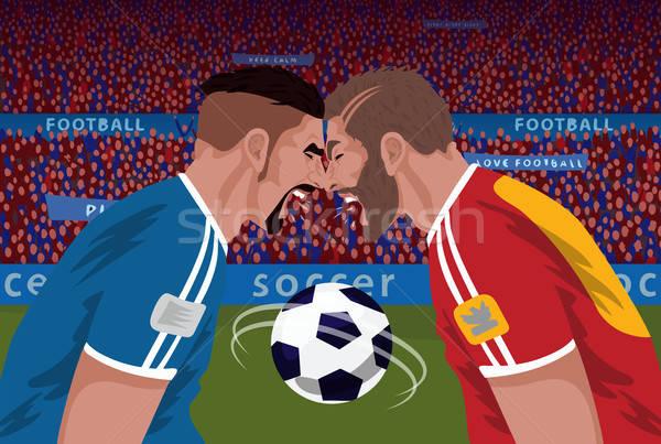 Twee boos voetbal stadion strijd Stockfoto © alexanderandariadna