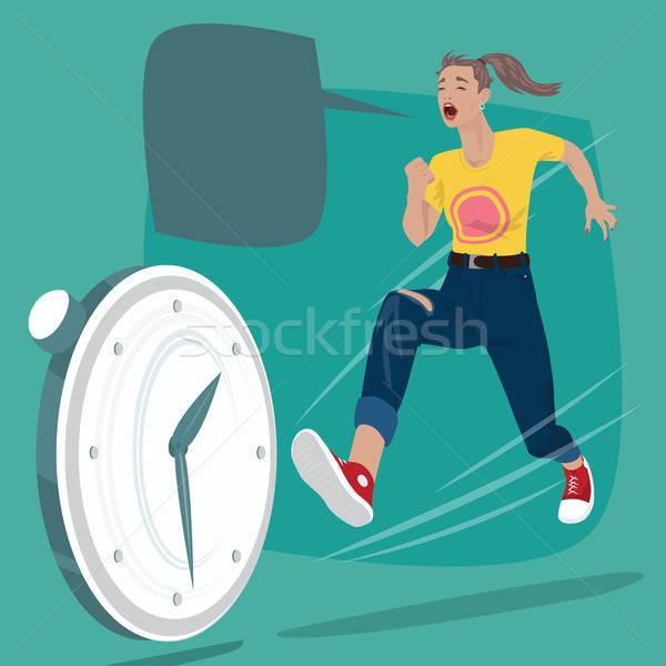 Girl chasing of time clock Stock photo © alexanderandariadna