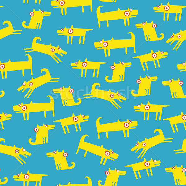Hond patroon lichtblauw Geel grappig huisdieren Stockfoto © alexanderandariadna