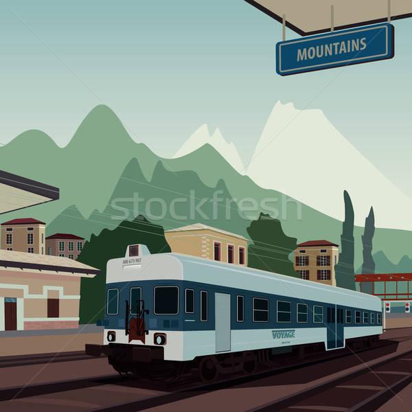 Old train at railway station of European town Stock photo © alexanderandariadna