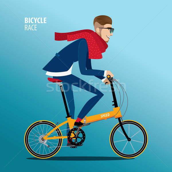 Divatos férfi bicikli kék öltöny részletes Stock fotó © alexanderandariadna