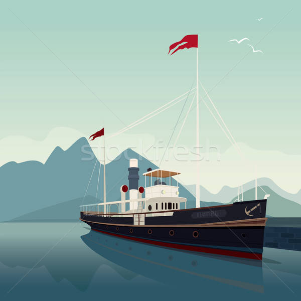Schilderachtig oude schip pier dag cruiseschip Stockfoto © alexanderandariadna