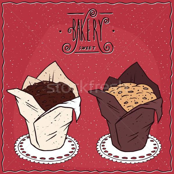 Ingesteld muffins handgemaakt cartoon stijl verschillend Stockfoto © alexanderandariadna