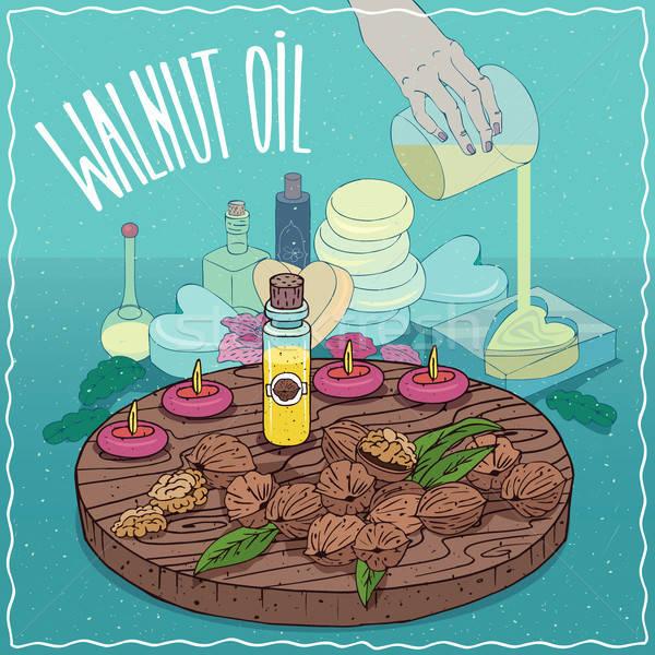 Walnoot olie gebruikt zeep glas Stockfoto © alexanderandariadna
