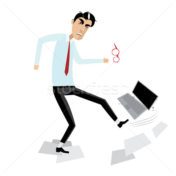Angry businessman breaking laptop Stock photo © alexanderandariadna