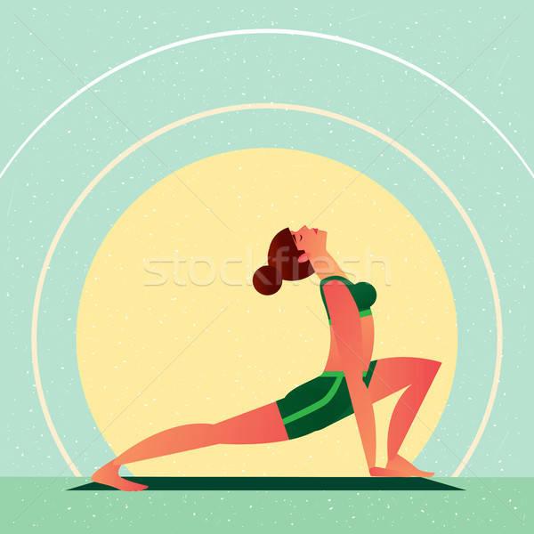 Nina yoga abierto corazón chakra guerrero Foto stock © alexanderandariadna