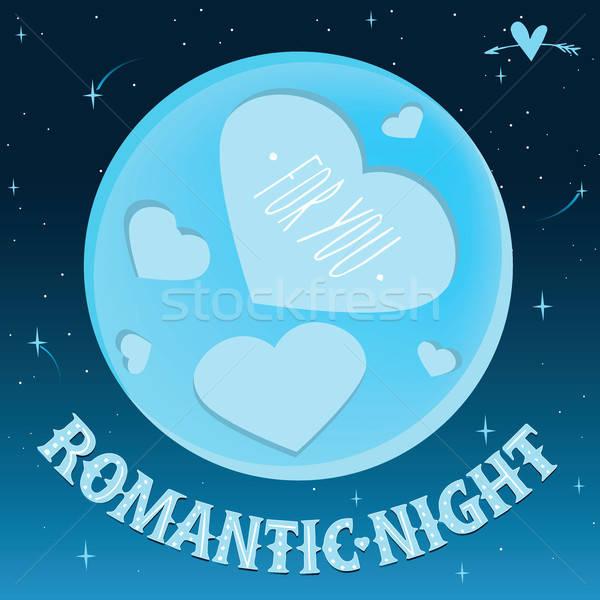 Romantische nacht maan vorm harten Stockfoto © alexanderandariadna