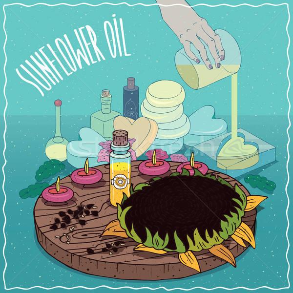 óleo de girassol usado sabão vidro vial Foto stock © alexanderandariadna