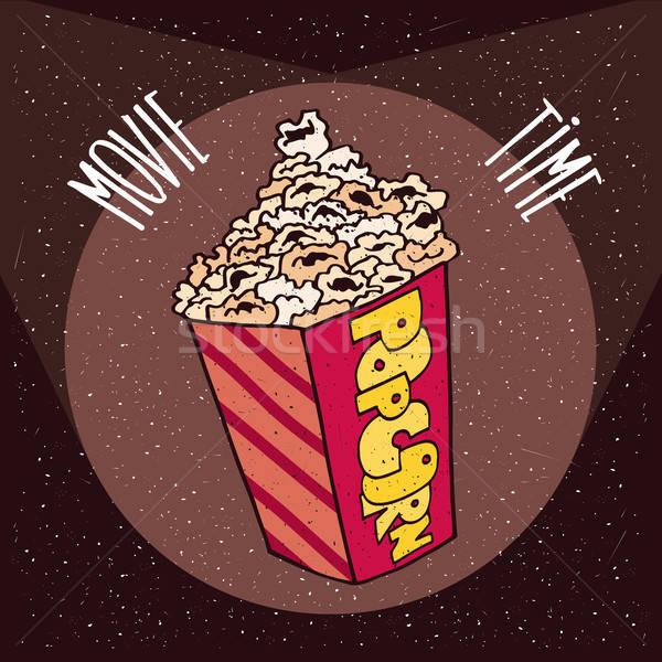 попкорн ярко куча кино коричневый Сток-фото © alexanderandariadna