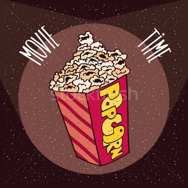 Cardboard box with popcorn in beams spotlights Stock photo © alexanderandariadna