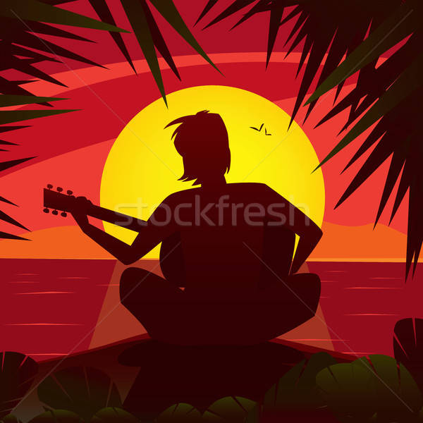 Silhouette of a romantic man playing the guitar at sunset Stock photo © alexanderandariadna