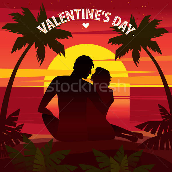 Romantikus randevú naplemente pár ül tengerpart Stock fotó © alexanderandariadna