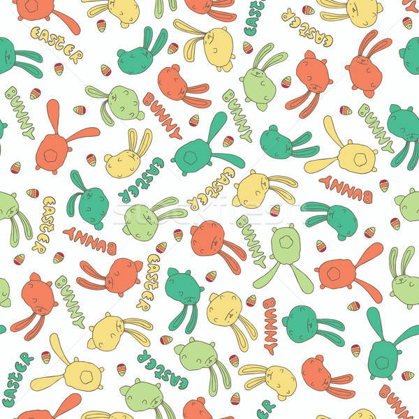 Pattern with cute bunny or rabbit in white color Stock photo © alexanderandariadna
