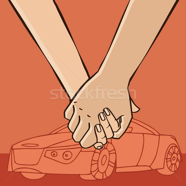 пару автомобилей рук знакомства Сток-фото © alexanderandariadna