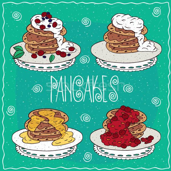 Set of pancakes in handmade cartoon style Stock photo © alexanderandariadna