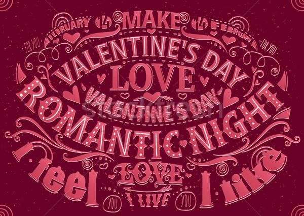 Valentine's Day card with lettering Stock photo © alexanderandariadna