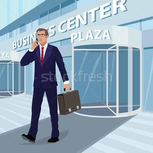 üzletember ki üzlet központ fiatal szemüveg Stock fotó © alexanderandariadna