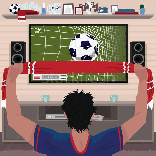 Football fan rejoices at the goal Stock photo © alexanderandariadna