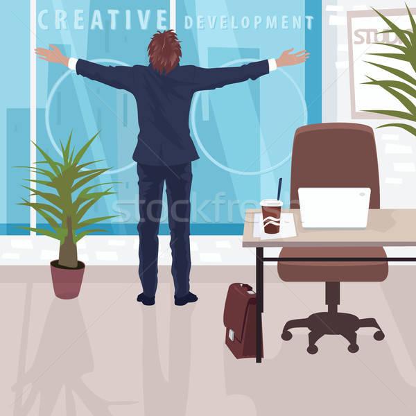 Boldog üzletember panorámakép ablak iroda alkalmazott Stock fotó © alexanderandariadna