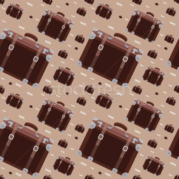 Sin costura patrón retro maleta marrón Foto stock © alexanderandariadna