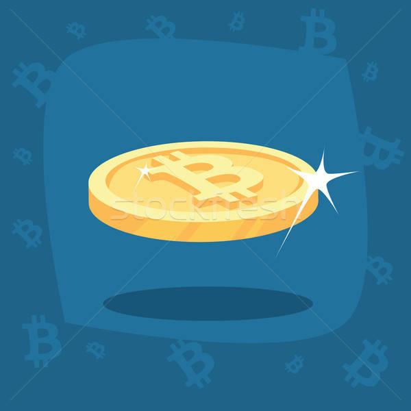 Błyszczący złota bitcoin monety Zdjęcia stock © alexanderandariadna