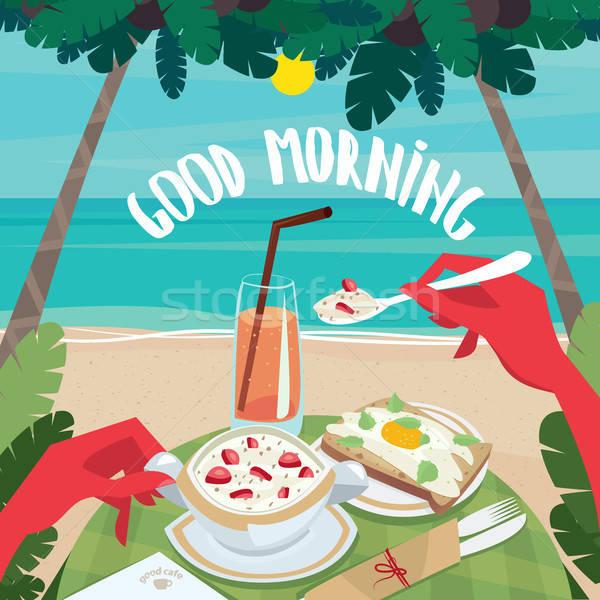 человека еды Континентальный завтрак океана мюсли Сток-фото © alexanderandariadna