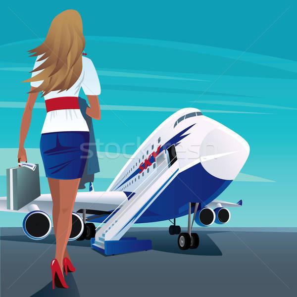 Young adult woman walks to the passenger plane Stock photo © alexanderandariadna