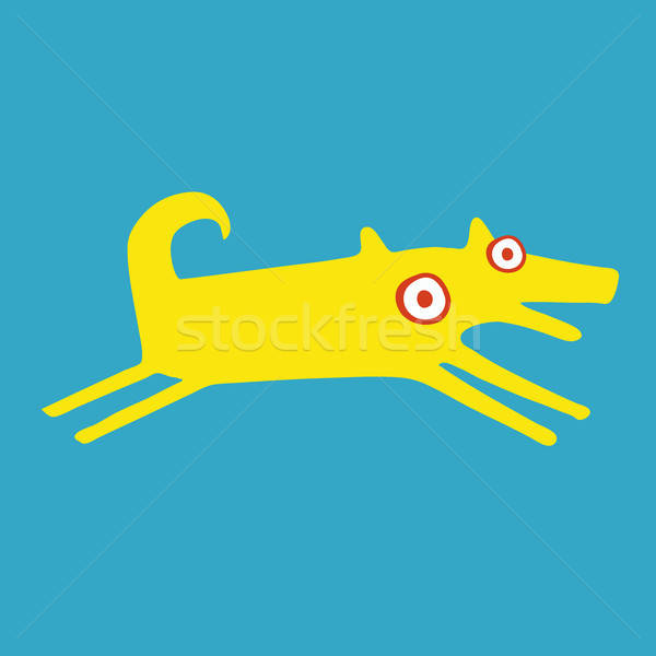 Funny amarillo perro ejecutando felizmente vista lateral Foto stock © alexanderandariadna
