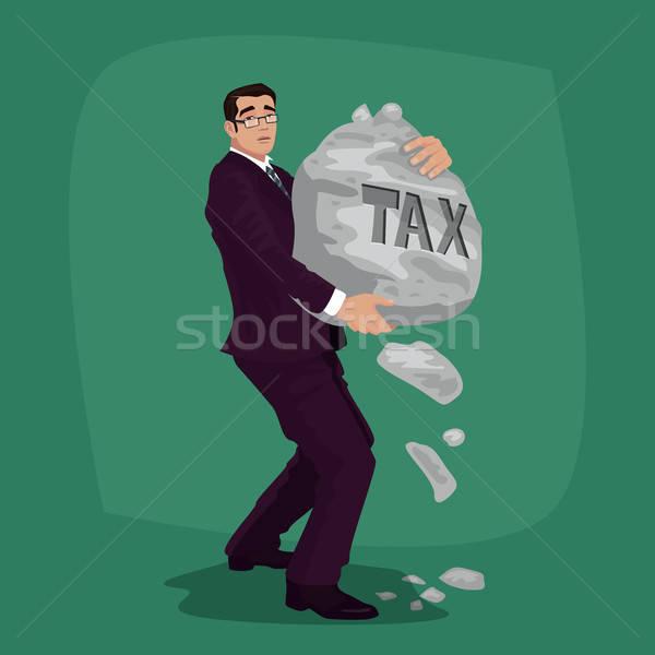 Unhappy businessman carry rock with lettering Tax Stock photo © alexanderandariadna