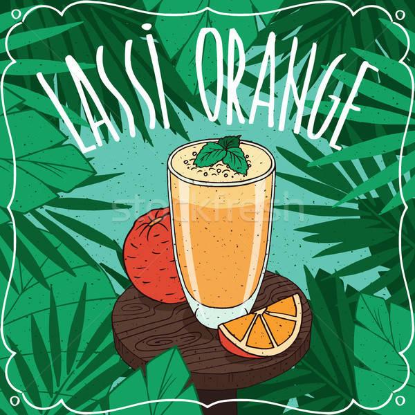 Orange Indian drink Lassi with fresh juice Stock photo © alexanderandariadna