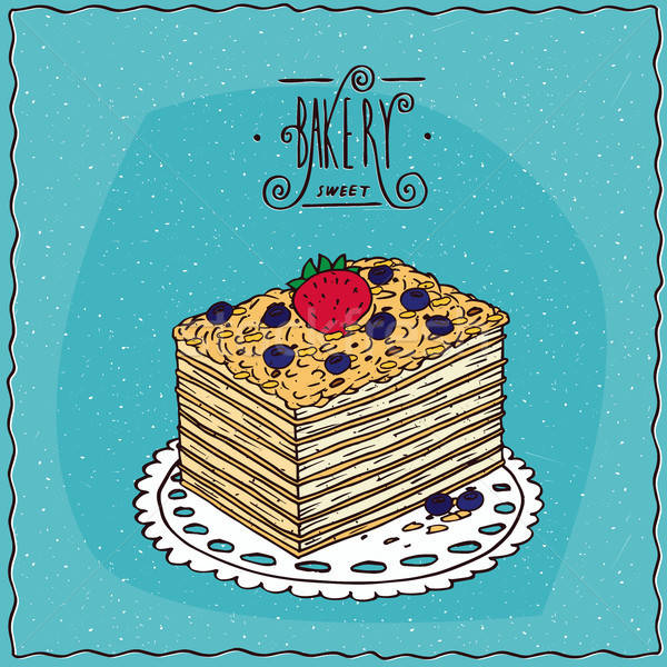 Klasszikus torta bogyók szalvéta kék friss Stock fotó © alexanderandariadna