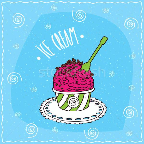 фрукты черпать мороженым Кубок шоколадом чипов Сток-фото © alexanderandariadna